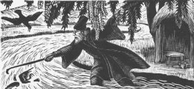 wood-engraving print: The Hermit for The Bird Talisman